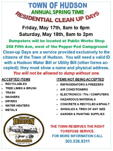 Hudson Clean up Days flyer