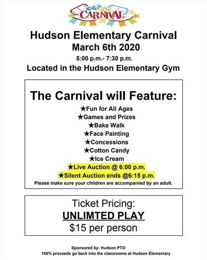 Hudson Elementary Carnival flier