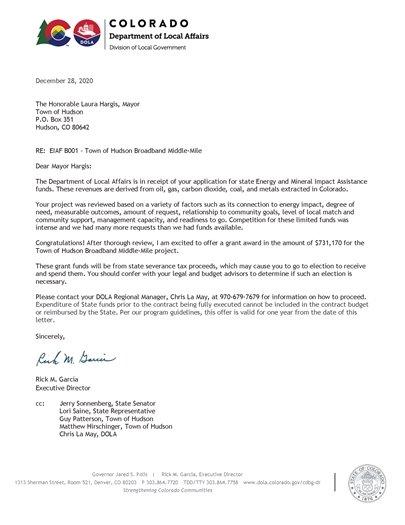 Broadband Grant Letter