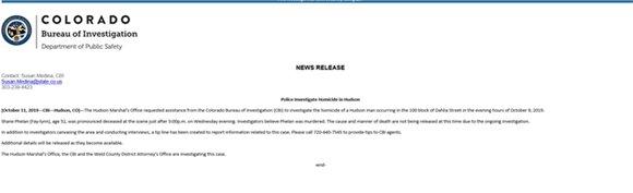 CBI: Police Investigate Homicide in Hudson